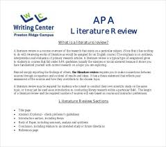 Sample Of Literature Review Apa Style 10 Literature Review Outline Templates Pdf Doc Free