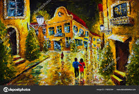 oil painting palette knife impressionism canvas old french night city stock photo