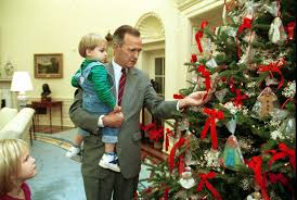 President Bush Shows his Grandson, Walker, the Oval Office Christmas Tree,  12/