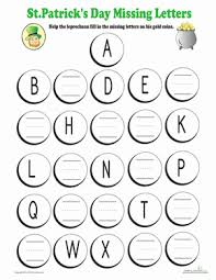 Fill in Missing Alphabet Letters | Worksheet | Education.comSt. Patrick's Day Kindergarten Letters Worksheets: Fill in Missing Alphabet Letters