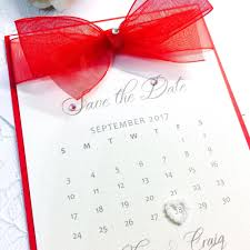 Red Save The Date Cards Save The Date Calendar Card With Organza Bow
