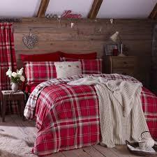 details about edinburgh single red tartan plaid reversible cotton duvet cover set