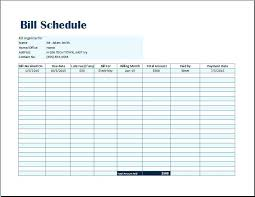 Invoice Schedule Template Bill Tracker Template For Small Enterprise Free Spreadsheet Payment