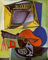 still life with guitar 1942 by pablo picasso oil on