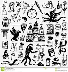 Elements Of A Fairy Tale History Fairy Tale Cartoons Set Stock Vector Illustration Of