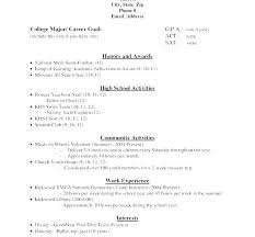 High School Resume Examples For College Admission High School Resume