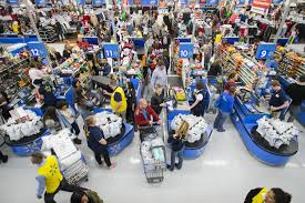 even holiday creep black friday is a big shopping day the image distributed for walmart customers leave happy from a walmart store in bentonville ar