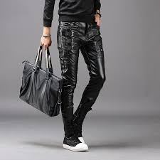 2018 autumn winter slim mens pu thickening warm casual tight leather pants korean small pencil pants