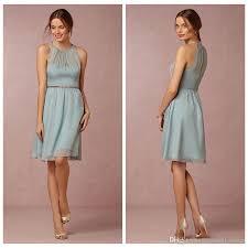 aegean opal short chiffon bridesmaid dresses knee length crew