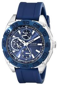 cheap guess watch guess watch deals on line at guess men s u0486g1 sporty silver tone blue silicone multi function watch