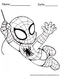 Best spider man coloring page free 631 free printable spiderman coloring pages for kids. Swinging Chibi Spiderman Coloring Sheet
