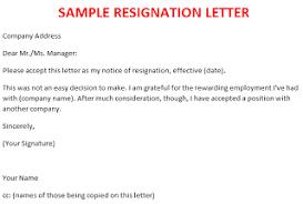 resignation letter template  october sample resignation letter