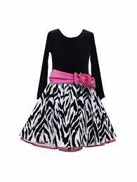 Flash Sale Bonnie Jean Long Sleeve Black Velvet Zebra Dress W Fuchsia Bow