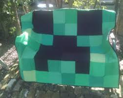 Minecraft quilt   Etsy & Minecraft Creeper inspired lap sized quilt made from recycled T-shirts Adamdwight.com