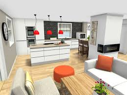 Kitchen Design Idea: White Kitchen Design With Center Island Open To Living  Space
