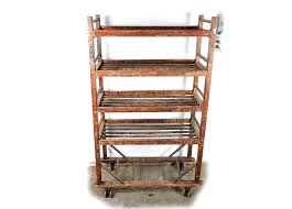wooden bakers rack antique rustic rolling wood plans