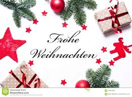 Merry Christmas In German On A Christmas Background With Present Stock  Image - Image of frohe, view: 104979237