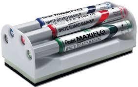 Brosse magnétique pour tableau blanc et 4 marqueurs Velleda