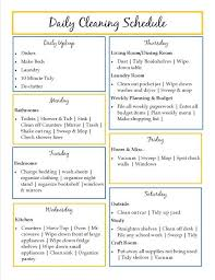 Daily Cleaning Schedule The Things I Want For My Home Cleaning