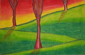 oil pastel landscapes wilder paint splatters