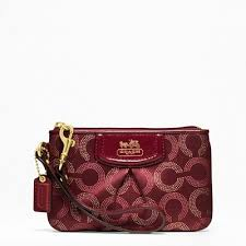 Coach Madison Dot Small Wristlet (Dark Red) F48656  BWN