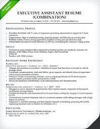 Example Of Combination Resumes Combination Resume For An Executive Assistant Office