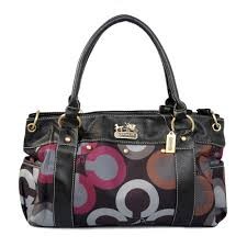 Coach Waverly Big C Logo Large Black Multi Satchels EJQ