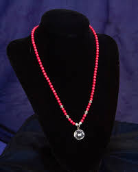 red c crystal ball pendant necklace
