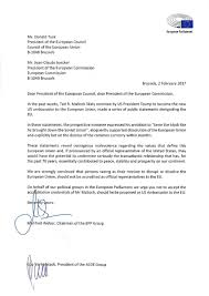 guy verhofstadt on twitter trump s possible eu ambador nominee wants to disrupt eu we shldn t accept him letter with manfredweber to eucopresident