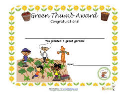 Children Certificate Template Gardening Green Thumb Award For Children