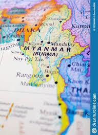 Mapa de Myanmar o Birmania imagen de archivo. Imagen de ciudad - 127866463