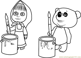 Small Picture Masha and Panda Coloring Page Free Masha and the Bear Coloring