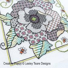 Blackwork Cross Stitch Charts Poppy Blackwork Blackwork Pattern By Lesley Teare Designs