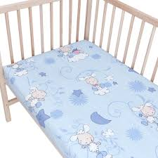 baby lambs blue pack of 2 fitted sheet 100 cotton cot loading zoom
