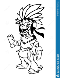 Native American Indian Character Illustration For Coloring Book