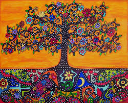 mexican folk art orange tree of life eternal roots original painting 20 x 16