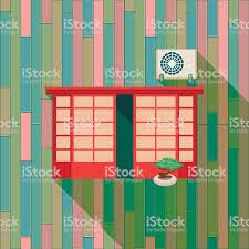 Vintage Fenster Und Klimaanlage An Der Wand Stock Vektor Art Und
