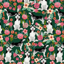 husky floral fabric cute huskies fabric best dog fabric quilting ... & husky floral fabric cute huskies fabric best dog fabric quilting fabrics  cute dog quilting design fabric Adamdwight.com