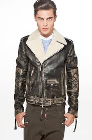 image 1 of dsquared leather kiodo jacket in black