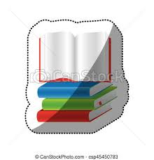 sticker colorful set stack books with open book csp45450783