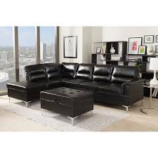 kinsley 3pcs black faux leather upholstered sectional sofa w storage ottoman jpg