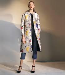 lisa perry jacquard shantung duster coat