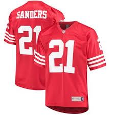 Player Sanders Scarlet San Jersey Retired Nfl Deion Men's Pro 49ers Francisco Line