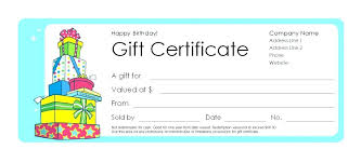 Print Gift Certificates Free Online With Birthday Certificate