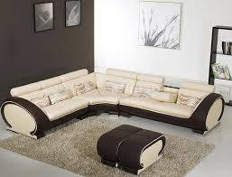 charming l shape brown cream leather sofa combine with dark brown ottomab coffee table on cream area rug