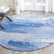 accessories cool 8 foot round rug blue white color abstract pattern polypropylene material latex backing modern