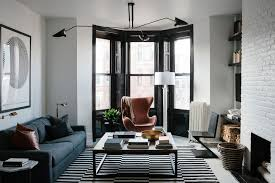 Interior Design Living Room Modern A Black And White Bachelor Pad In Brooklyn Home Tour Lonny