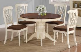 room simple dining sets: simple cottage dining room ideas with modern white and brown circle dining table ideas above