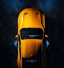 ford mustang top view. overhead view of the 2018 mustang in orange fury tri coat ford top