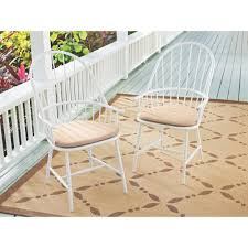 martha stewart living blue hill white aluminum outdoor dining chairs with beige tan cushion